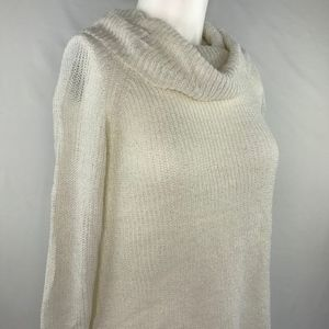 BCX Cowl Neck Pullover Sweater Ivory Gold Lurex M